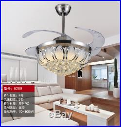 Silver 42 Crystal Fan Lamp LED Chandelier Remote Control Ceiling Lighting
