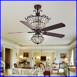 Tiffany Warehouse CFL-8154BR Charla 4-Light Crystal 52 Chandeliers Ceiling Fans