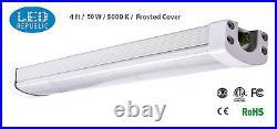 Tri Proof LED Light Waterproof Dustproof 6107Lumen 4ft 50W 5000k-Frosted Cover