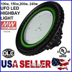 UFO 150W LED High Bay Light Dimmable UL cUL DLC 20500LM MEANWELL IP65 Warehouse