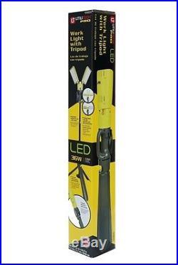 Work Light Stand LED Tripod 2 Light 36W 8ft Cord 280° Telescoping Safe on Wet